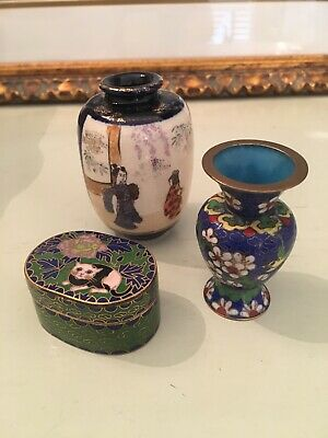 Cloisonné Miniature Cat Pill Box And Vase And Asian Vase. Sold As Set. Set Of 3