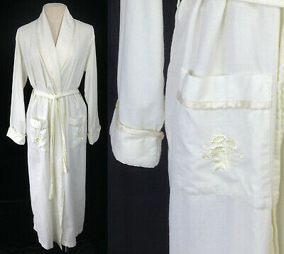 Vintage Laura Ashley Pale Yellow Floral Embroidered 100% Cotton Wrap Robe S-M