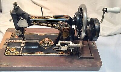 Vintage Frister and Rossmann Handcrank Sewing Machine w/ Attachments/Accessories