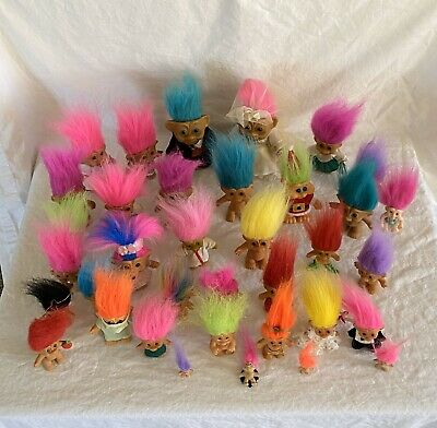 Lot Of 36 Vintage Troll Dolls Russ Trolls All Sizes And Brands