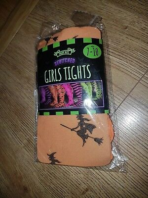 Girls Orange Halloween Witch Tights age 7-10 NEW