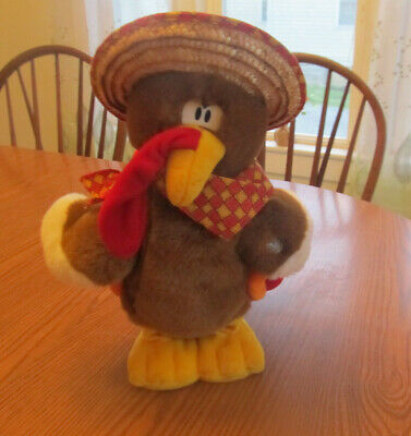 Dandee TURKEY IN THE STRAW Animated Plush Singing Shaking Vibrating Thanksgiving