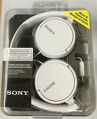 Sony MDR-ZX110APW Stereo Headphones Hands-free +Phone Mic Volume Control (White)