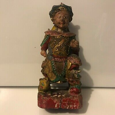 """Old Antique Chinese Hand Carved & Gilt Painted Warrior Wooden Figure 8 1/4"""""""