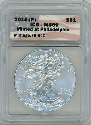 2015-(P) American Eagle Silver $1, MS 69 Minted at Philadelphia 79,640 - ICG