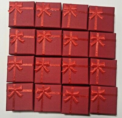 Lot of 15 Red Square Ring Boxes With Bow Gift Box