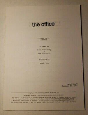 """The Office """"The Dinner Party"""" Full Episode Script NBC Universal Promo, 2008"""