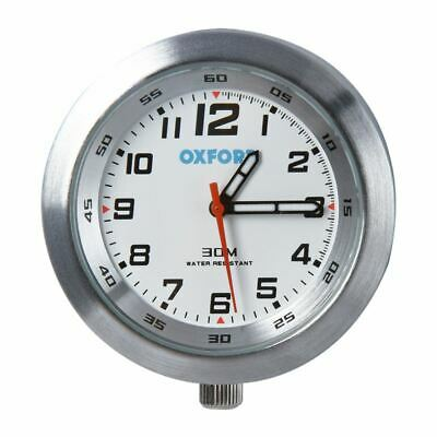Oxford OX560 Motorcycle Motorbike Analouge Clock - Silver Case & White Face