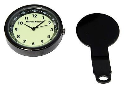 BikeTek Motorcycle Mount Analogue Yoke Clock Titanium / Glow Faced