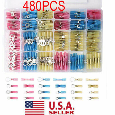 Set Of 480PCS HEAT SHRINK WIRE CONNECTOR ASSORTMENT AUTOMOTIVE MARINE KIT US