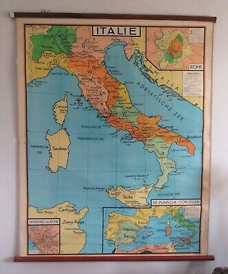 Original Large Vintage Geographical Map Of Italy Circa 1960