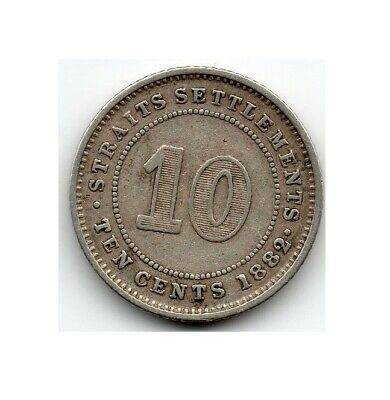 Straits Settlements 10 Cents 1882 H (80.0% Silver) Coin