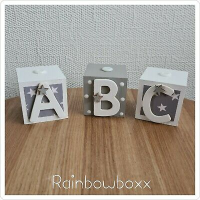 ♡♡ Handmade Wooden grey & white ABC Blocks. Nursery Bedroom Decor ♡♡