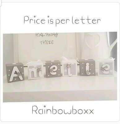 ♡♡ Personalised Handmade Wooden Grey & White Blocks. Nursery Bedroom Decor ♡♡