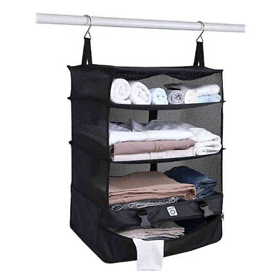 Stow-N-Go Portable Luggage System, Hanging Travel Shelves, Large & Black