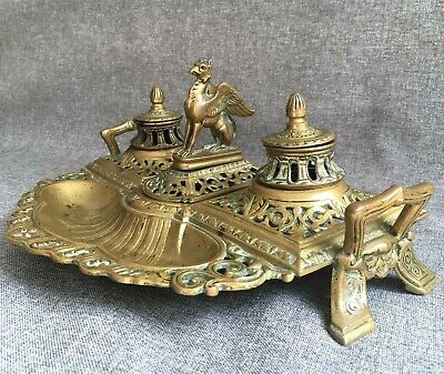 Big antique french Empire style inkwell made of bronze 19th century chimera