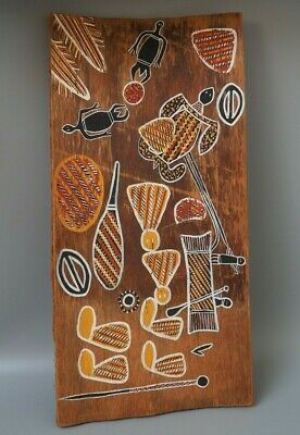 Nice Vintage Oceanic Australian Aboriginal Bark Painting With Figures & Clubs Vf