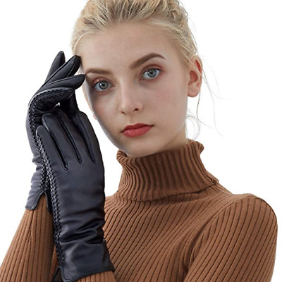 Sheepskin Leather Gloves For Women, Winter Warm Touchscreen Texting Cashmere Lin
