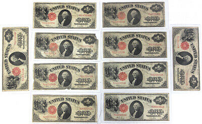 1917 US Mint $1 Dollar Notes Lot of (10) Bills All NICE Overall LOOK!!!