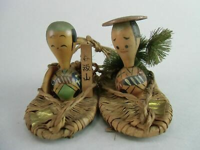 Japanese Kokeshi Doll Kimono Man Straw Figurine Wood Brown Pine Vtg Ningyo OK874
