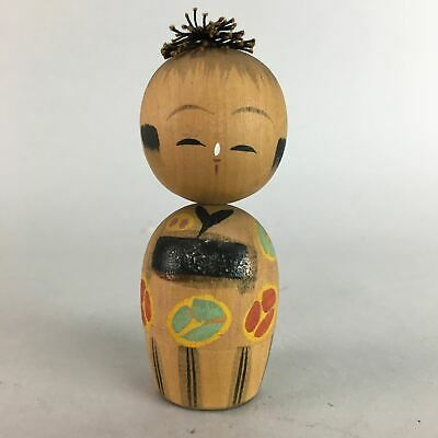 Japanese Kokeshi Doll Vtg Wood Carving Figurine Kimono Girl Bobblehead KF159