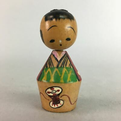 Japanese Kokeshi Doll Vtg Wood Carving Figurine Kimono Girl Drum KF152