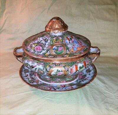 Antique Chinese Export Rose Medallion Tureen and Serving Dish Circa 1870