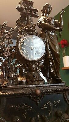 Antique rare French mantel clock Marianne Paris ornate bronze sculpture