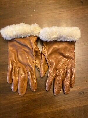 UGG Women's Brown Shearling-Cuff Leather Gloves Size Small Sheepskin