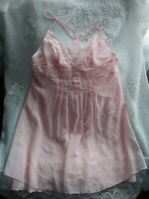Victoria's Secret Chiffon Lace Pink Double Layer Szm Babydoll Nightgown...
