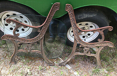 Vtg Heavy Architectural Salvage Cast Iron Bench Ends Legs Ornate 30.75""