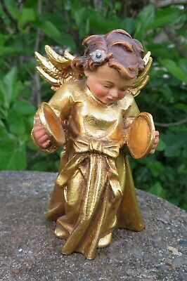 Vintage Dolfi Hand Carved Italy Wooden Angel with Gold Leaf finish