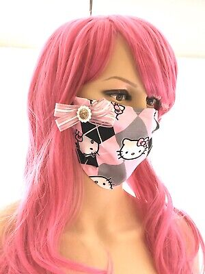 Hello Kitty Handmade Face Mask Adult Size with 3-Layers. Washable Pink Bow USA