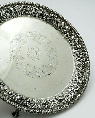 """KIRK REPOUSSE Sterling SALVER Claw Feet FLORAL ENGRAVING 8"""""""