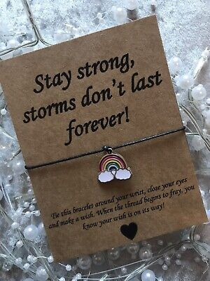 🌈 Stay Strong Rainbow Friendship Wish bracelet/anklet Present Gift Quote 🌈
