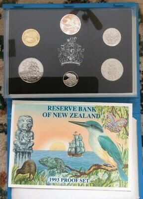 1993 NEW ZEALAND - OFFICIAL PROOF SET (6) w/ STERLING SILVER $2 DOLLARS - RARE!