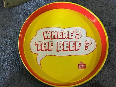 """ORIGINAL Vintage 1984 Wendy's Where's The Beef? 15"""" Metal Serving Tray"""