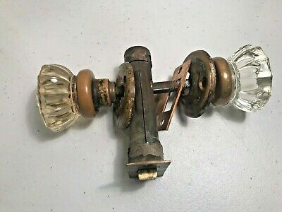 Antique Clear Glass Door Knobs 12 Pt. Brass Handle Set - With Hardware