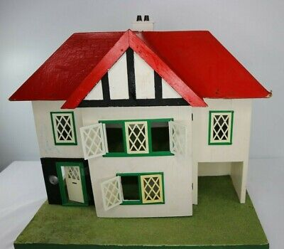 Vintage Handmade Charming Tudor Style Dolls House - All Original - Great Project