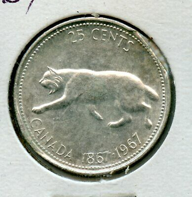 Weeda Canada 1967 silver quarter, clipped planchet error with Blakesley Effect