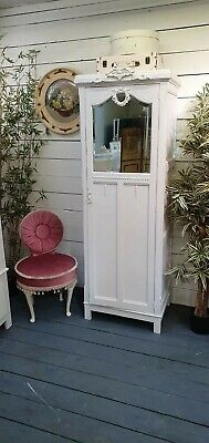 Vintage Painted Slim Victorian Mirrored Wardrobe Shabby Chic CAN ARRANGE COURIER