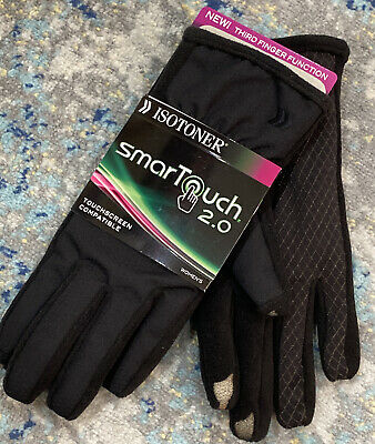 Isotoner Smart Touch Womens Black Stretch Smartouch Text Touch Gloves M/L NWT