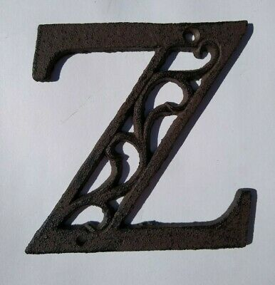 "Alphabet House Letters Z Antique Brown Cast Iron Metal Large 4.5"" Indoor Outdoor"