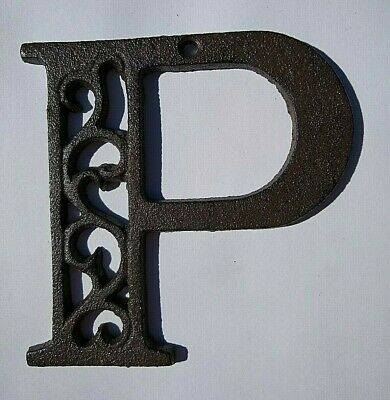 "Alphabet House Letters P Antique Brown Cast Iron Metal Large 4.5"" Indoor Outdoor"
