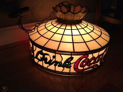 Vintage 1970s Coca Cola Pool Table/Patio Swag Lamp--Tiffany Stained Glass Look