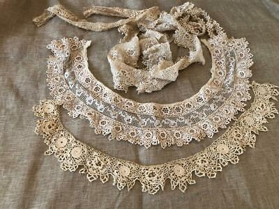 Antique Irish Crochet Cotton Lace ~2~ Collars + Extra edging +Lace Collar ~LOT~