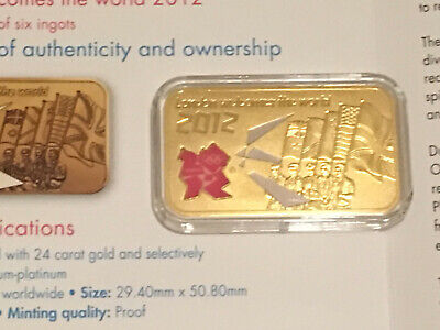 2012 London Olympics Commemorative gold plated ingot in a case, +card (see desc)