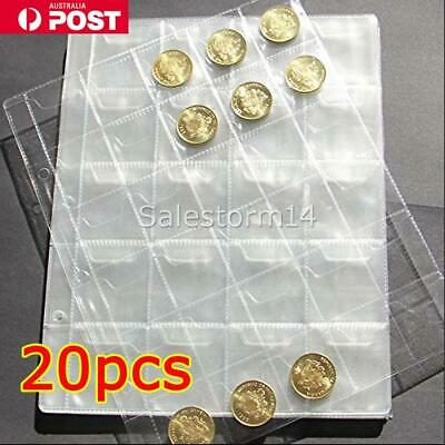 20pcs 30 Pockets Coin Holder Folder Pages Sheets For Collection Album Storage I