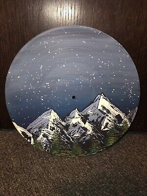 ONE OF A KIND Midnight Mountains Painted Vinyl Record Decoration Sign Blue Black