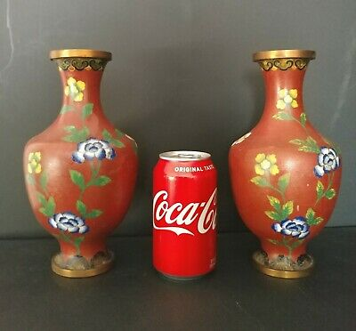 "Pair Of Older 9"" Cloisonne Vases. Asian Markings Within Triangle Underside"